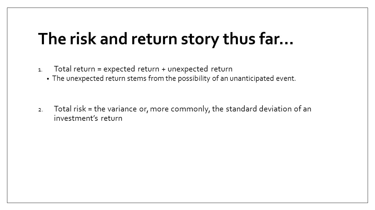 The risk and return story thus far…