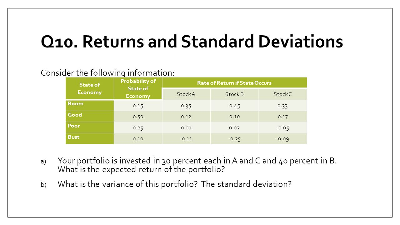 Q10. Returns and Standard Deviations