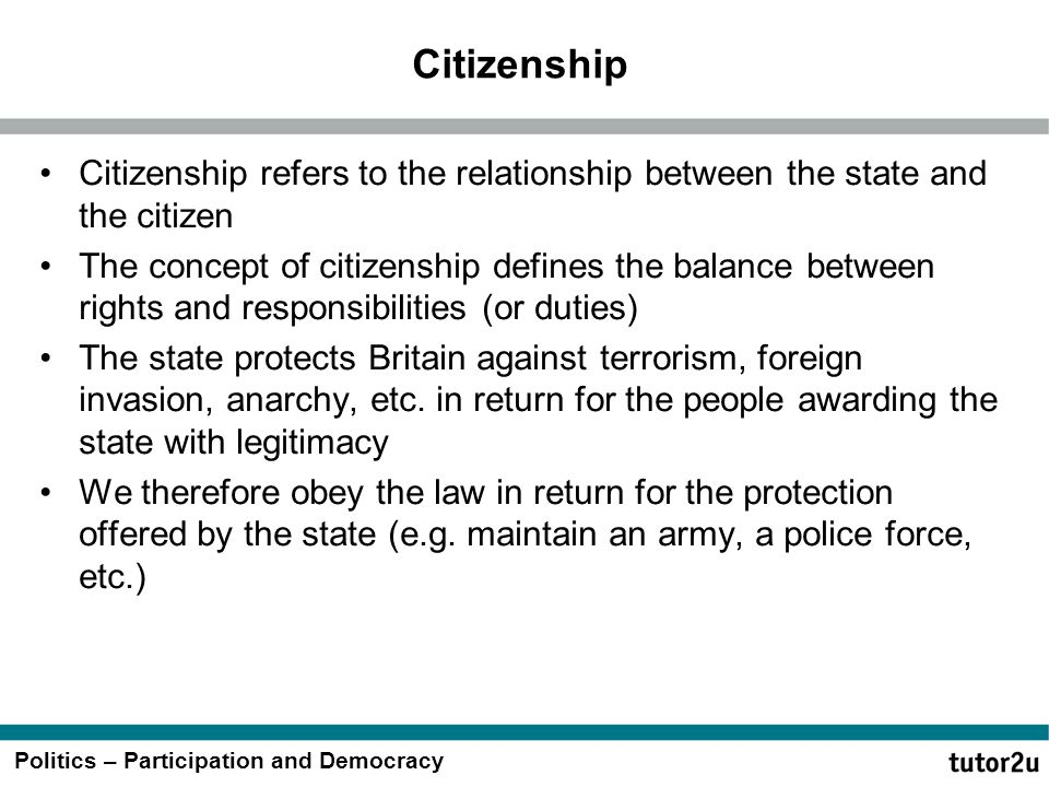Citizenship Citizenship refers to the relationship between the state and the citizen.