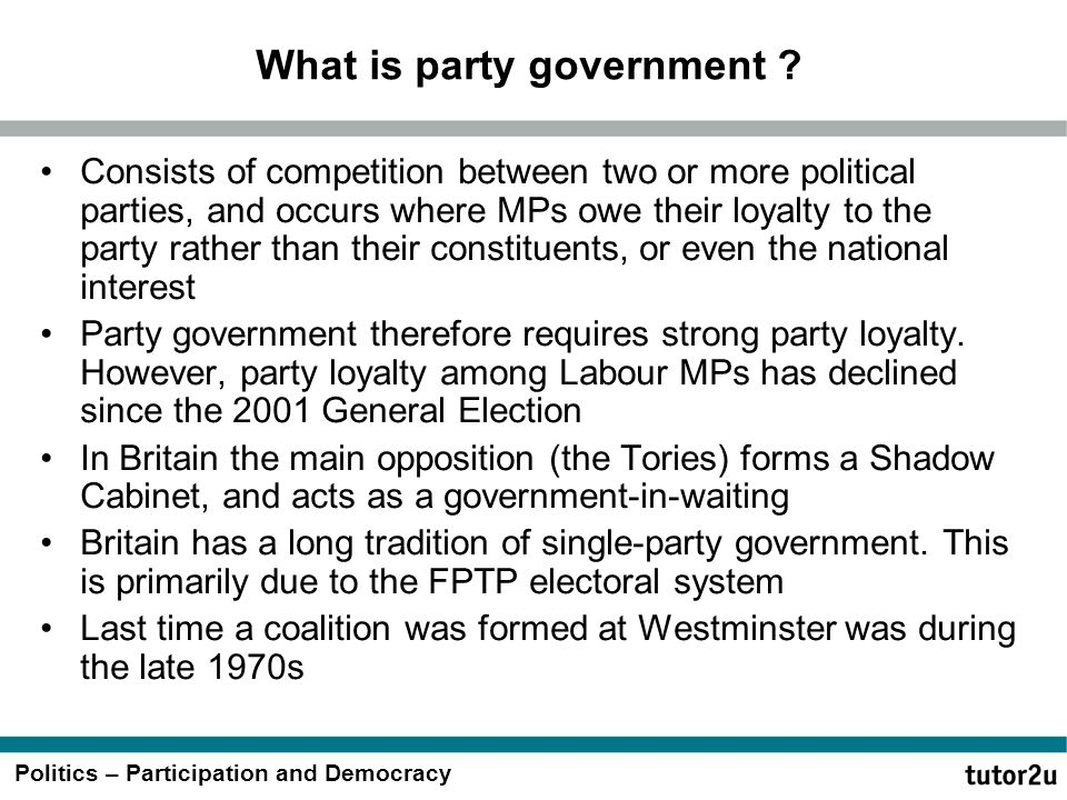 What is party government