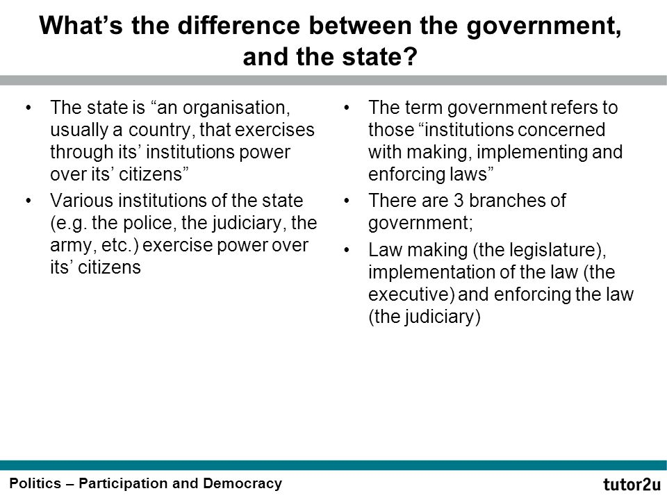 What's the difference between the government, and the state