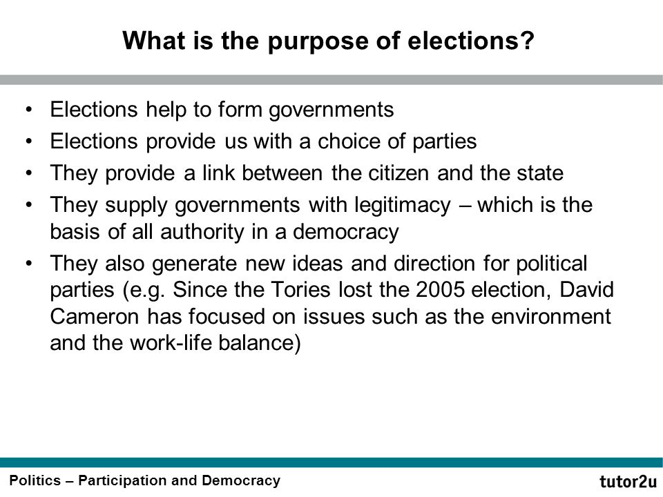 What is the purpose of elections