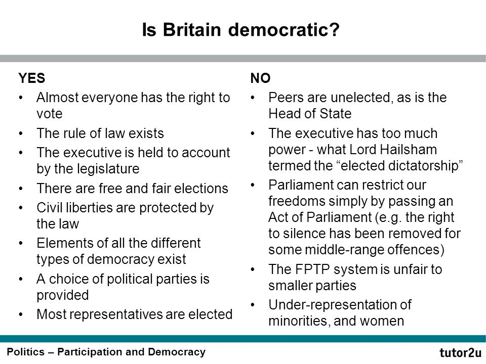 Is Britain democratic YES Almost everyone has the right to vote