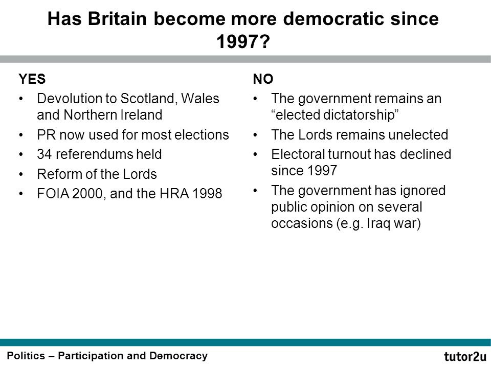 Has Britain become more democratic since 1997