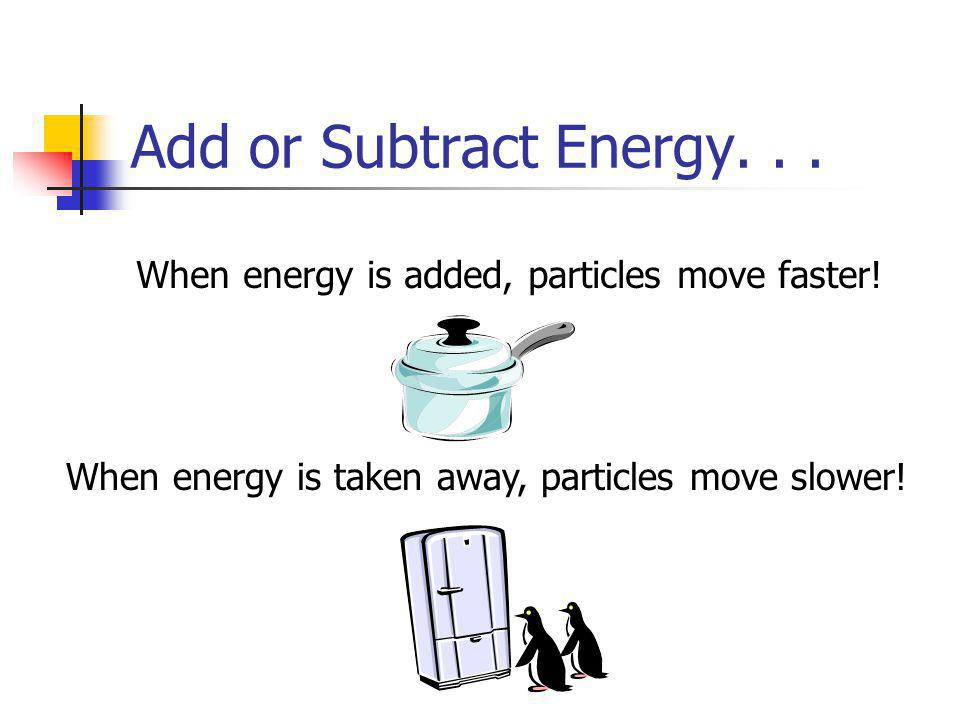 Add or Subtract Energy. When energy is added, particles move faster.