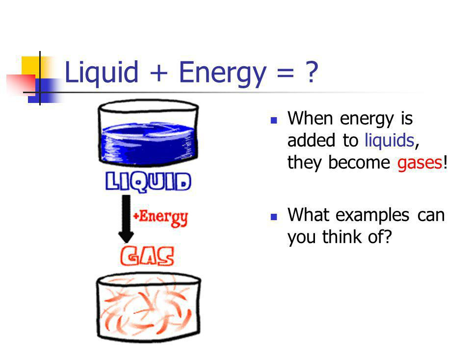 Liquid + Energy = . When energy is added to liquids, they become gases.