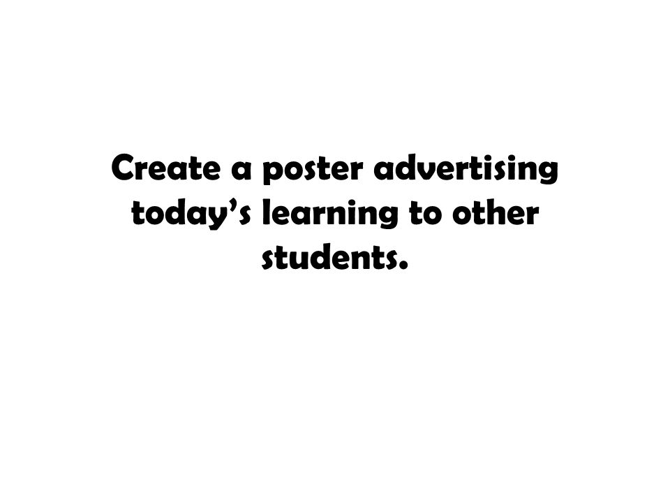 Create a poster advertising today's learning to other students.