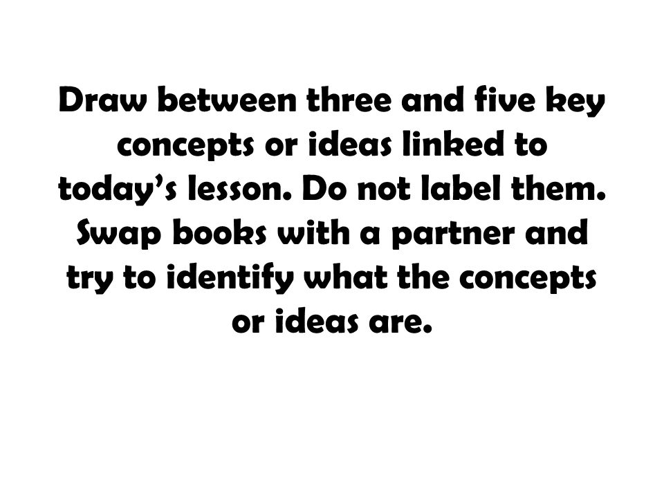 Draw between three and five key concepts or ideas linked to today's lesson.