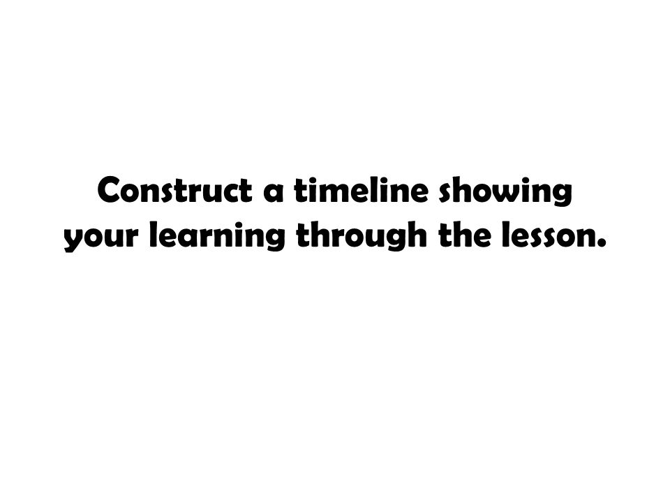 Construct a timeline showing your learning through the lesson.