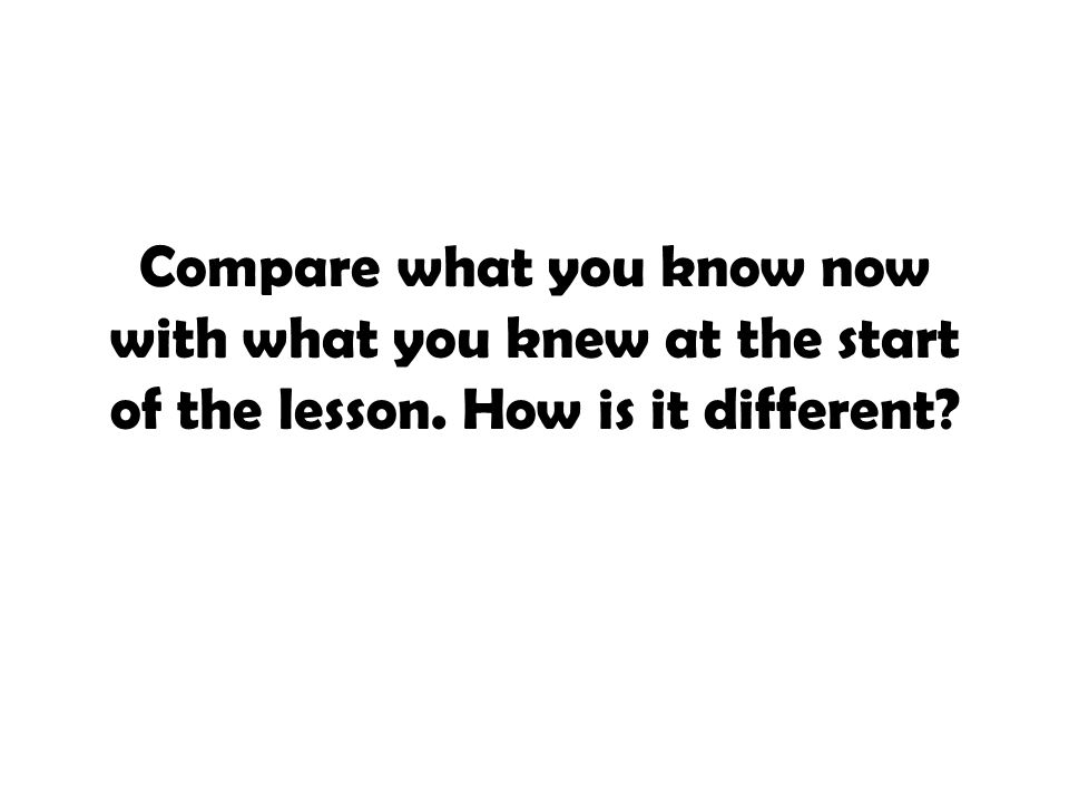 Compare what you know now with what you knew at the start of the lesson. How is it different