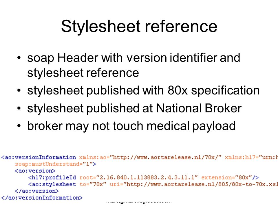 Stylesheet reference soap Header with version identifier and stylesheet reference. stylesheet published with 80x specification.