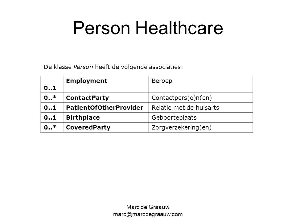 Person Healthcare De klasse Person heeft de volgende associaties: 0..1