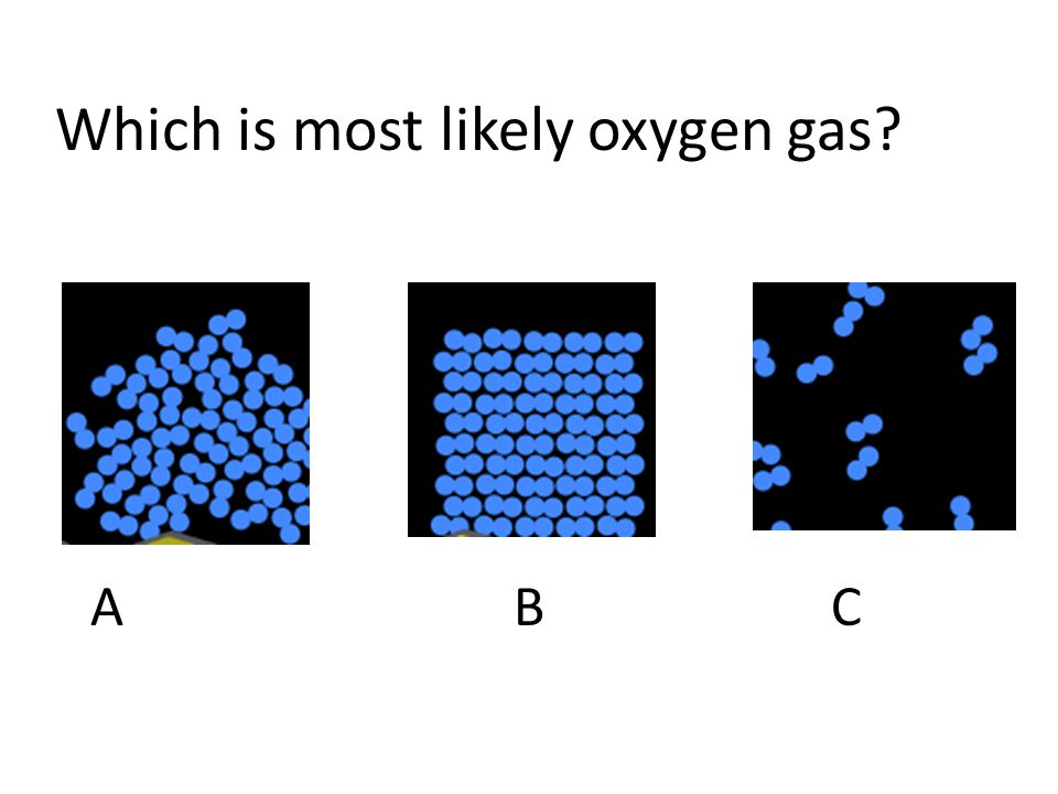 Which is most likely oxygen gas