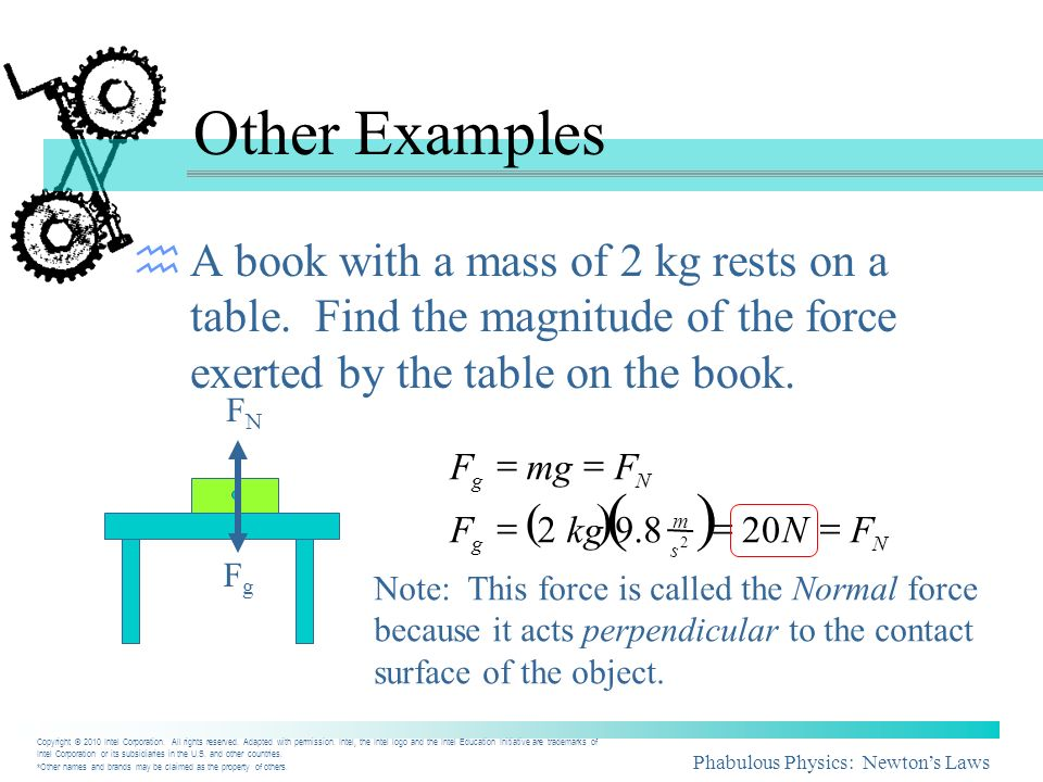 Other Examples A book with a mass of 2 kg rests on a table. Find the magnitude of the force exerted by the table on the book.