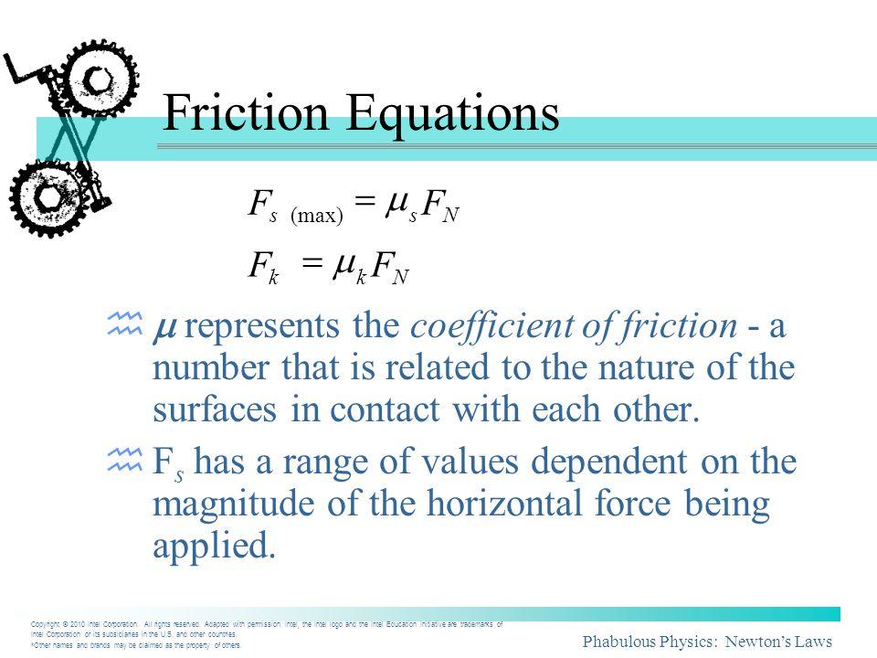 Friction Equations F. = m. F. s. (max) s. N. F. = m. F. k. k. N.