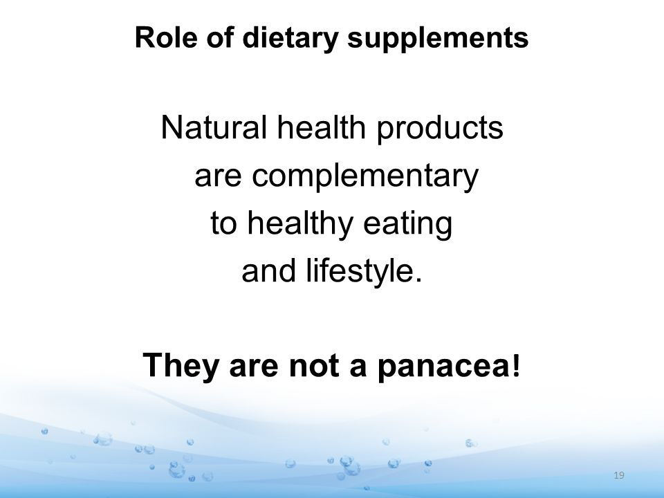 Role of dietary supplements
