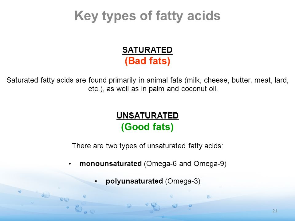 Key types of fatty acids