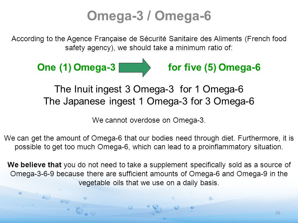 One (1) Omega-3 for five (5) Omega-6