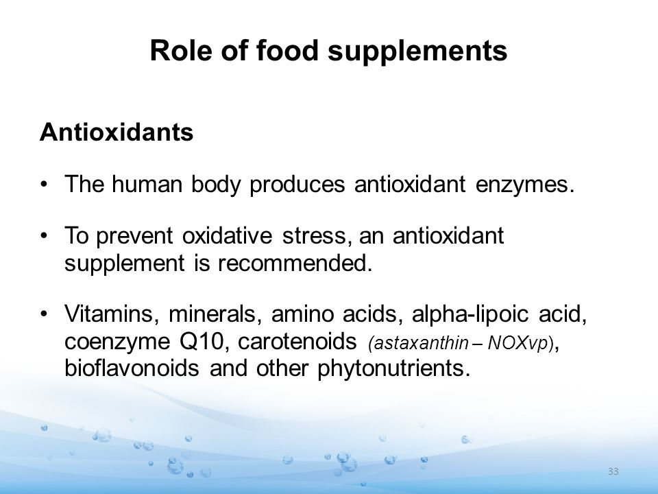 Role of food supplements