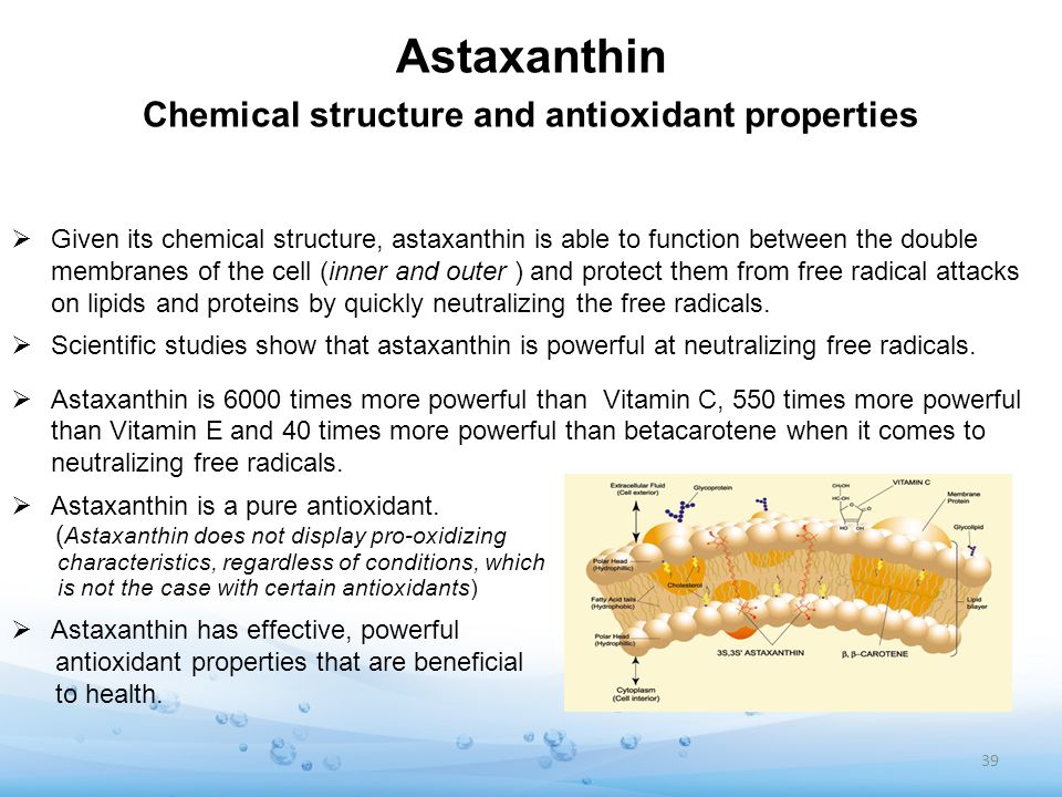 Astaxanthin Chemical structure and antioxidant properties