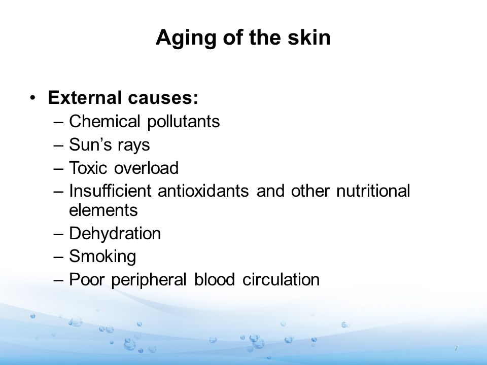 Aging of the skin External causes: Chemical pollutants Sun's rays