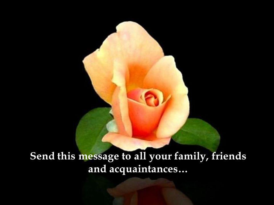 Send this message to all your family, friends and acquaintances…