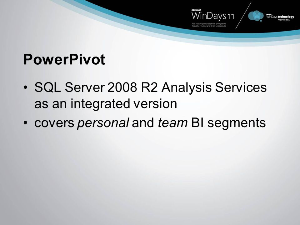 PowerPivot SQL Server 2008 R2 Analysis Services as an integrated version. covers personal and team BI segments.