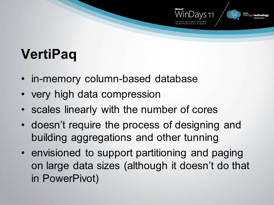 VertiPaq in-memory column-based database very high data compression