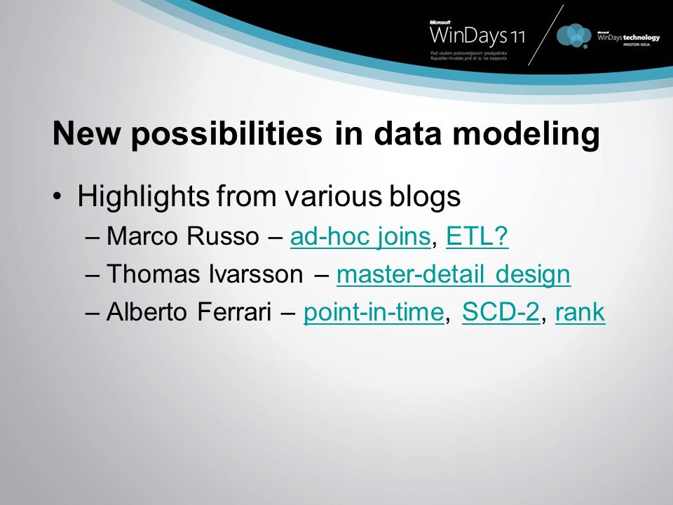 New possibilities in data modeling