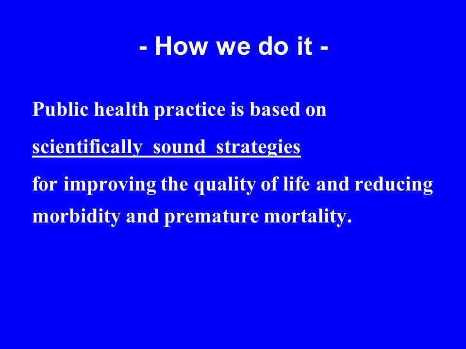 - How we do it - Public health practice is based on