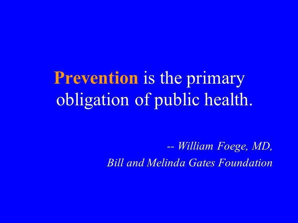 Prevention is the primary obligation of public health.