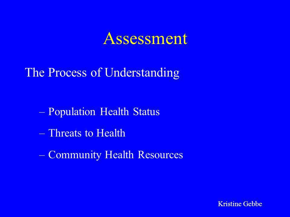 Assessment The Process of Understanding Population Health Status