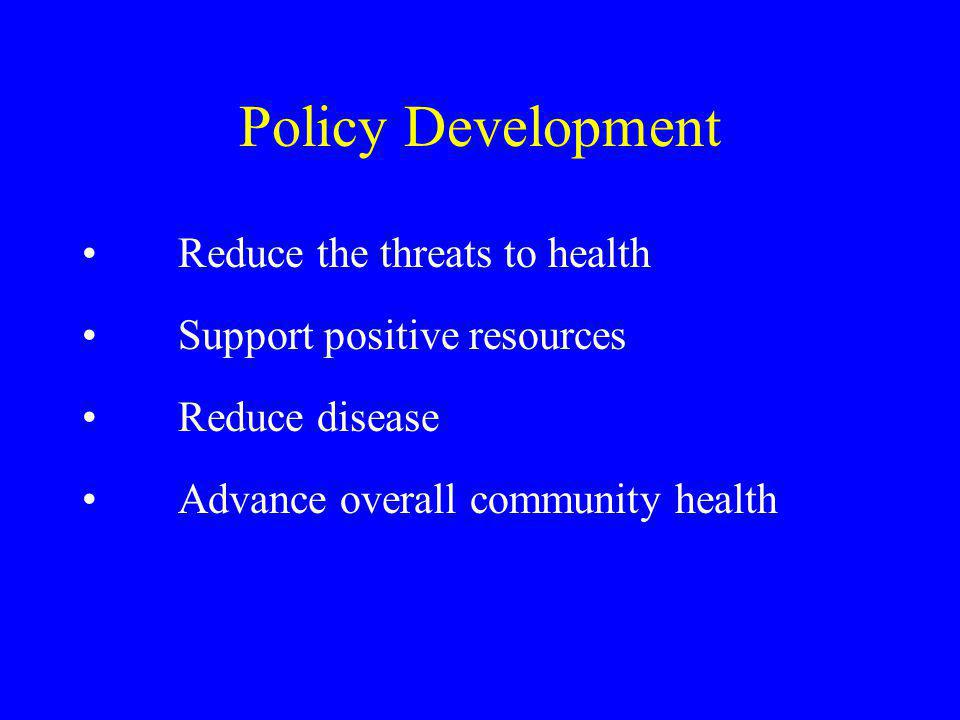 Policy Development Reduce the threats to health