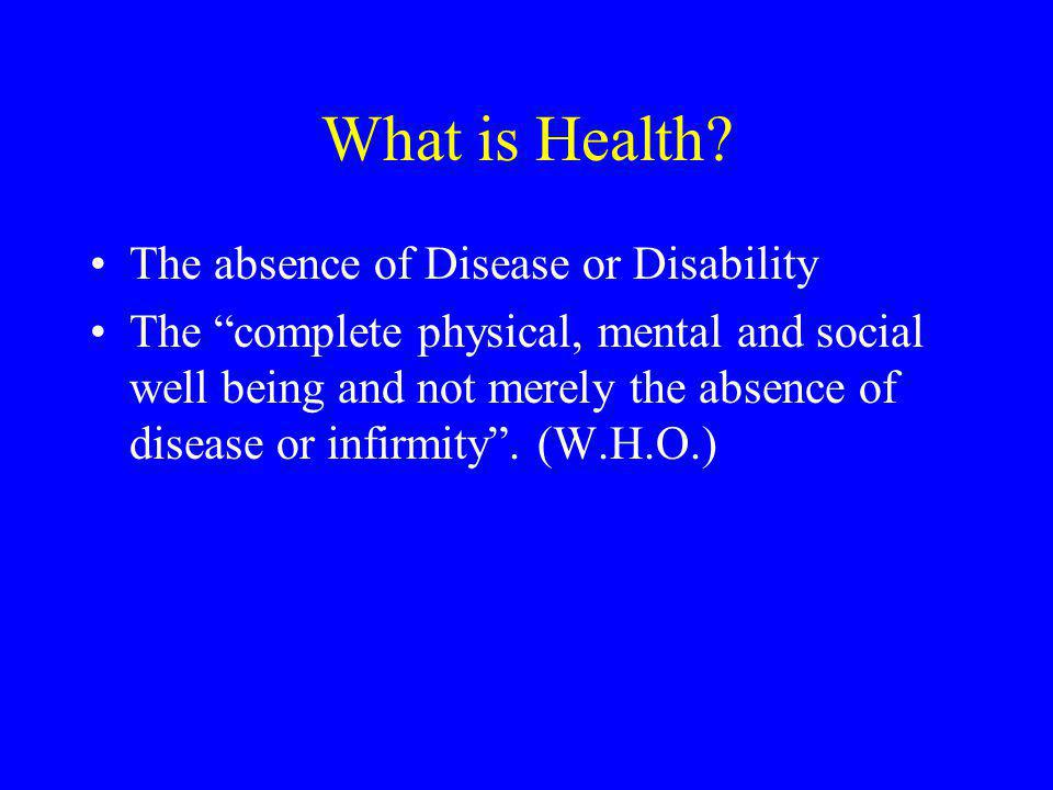 What is Health The absence of Disease or Disability