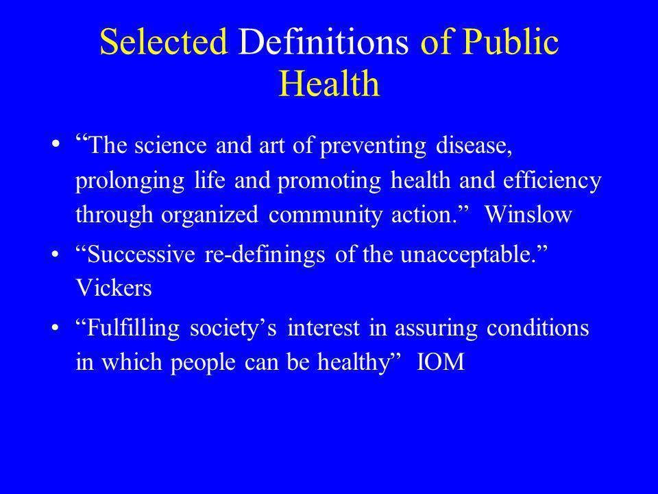 Selected Definitions of Public Health