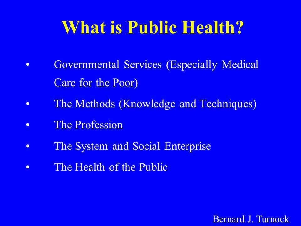 What is Public Health Governmental Services (Especially Medical Care for the Poor) The Methods (Knowledge and Techniques)
