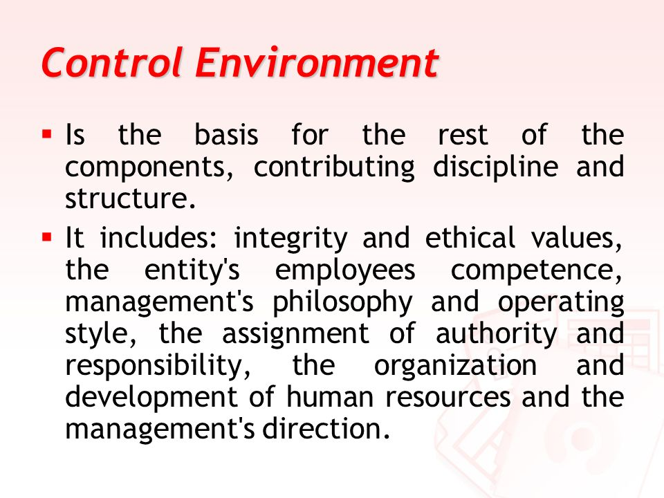 Control Environment Is the basis for the rest of the components, contributing discipline and structure.