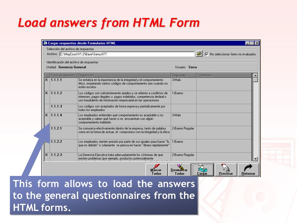 Load answers from HTML Form