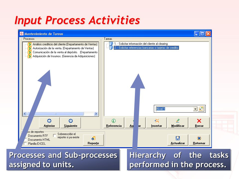 Input Process Activities
