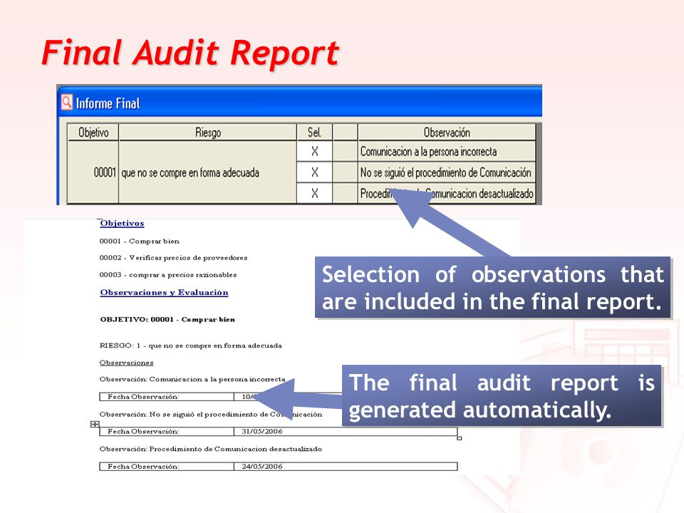 Final Audit Report Selection of observations that are included in the final report.