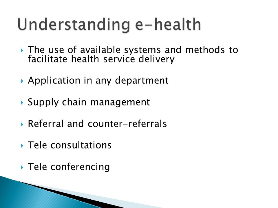 Understanding e-health
