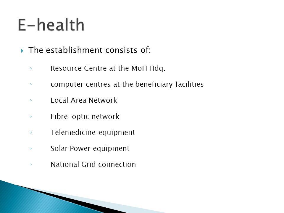 E-health The establishment consists of: