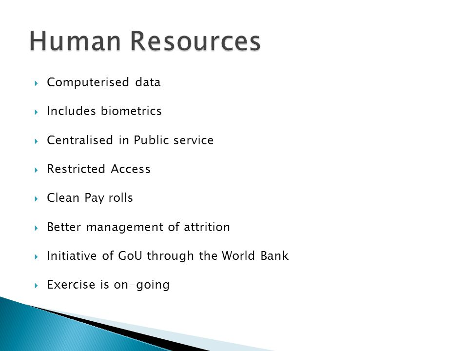 Human Resources Computerised data Includes biometrics