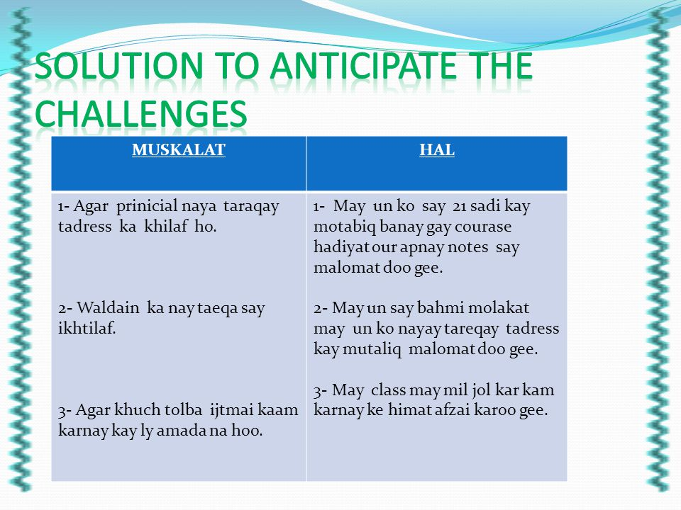 SOLUTION TO ANTICIPATE THE CHALLENGES