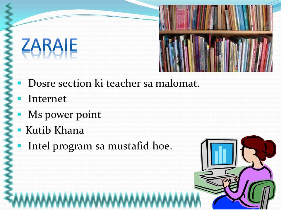 ZARAIE Dosre section ki teacher sa malomat. Internet Ms power point