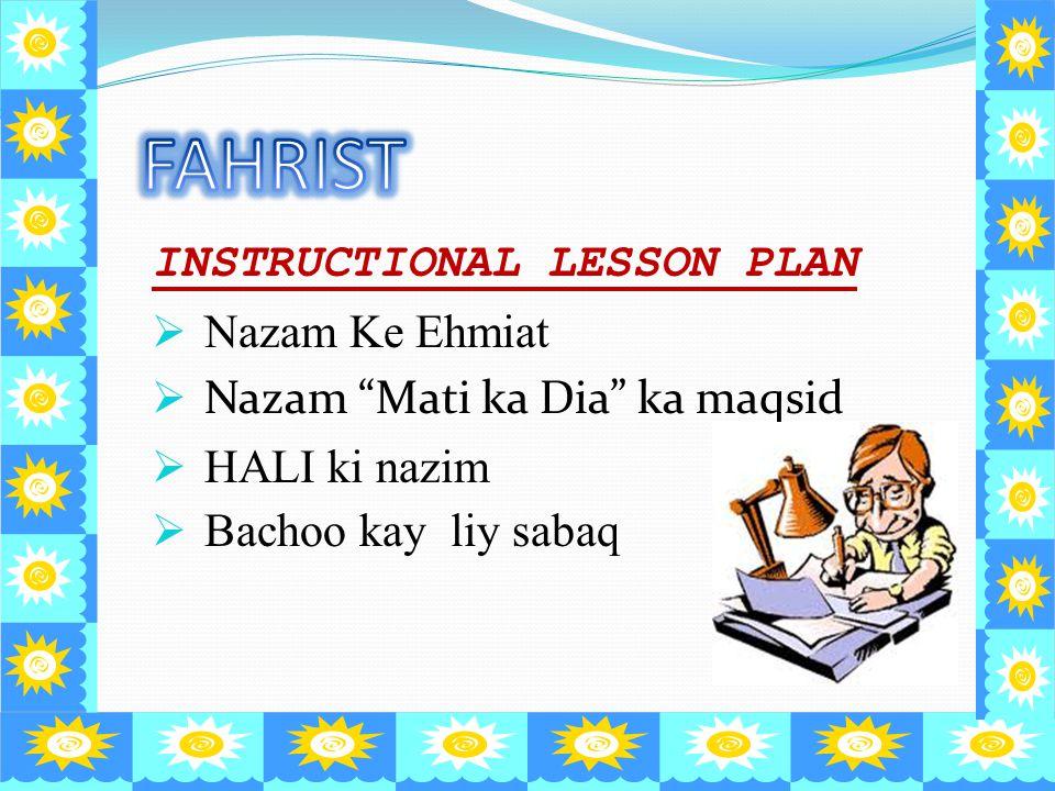 FAHRIST INSTRUCTIONAL LESSON PLAN Nazam Ke Ehmiat
