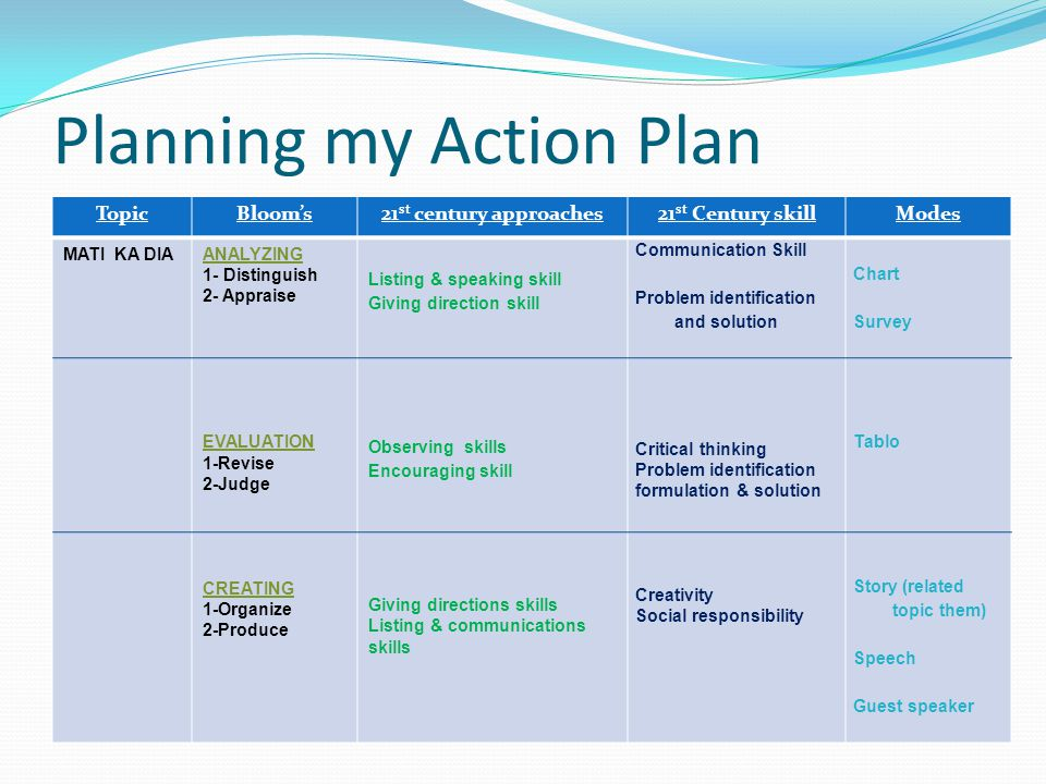 Planning my Action Plan