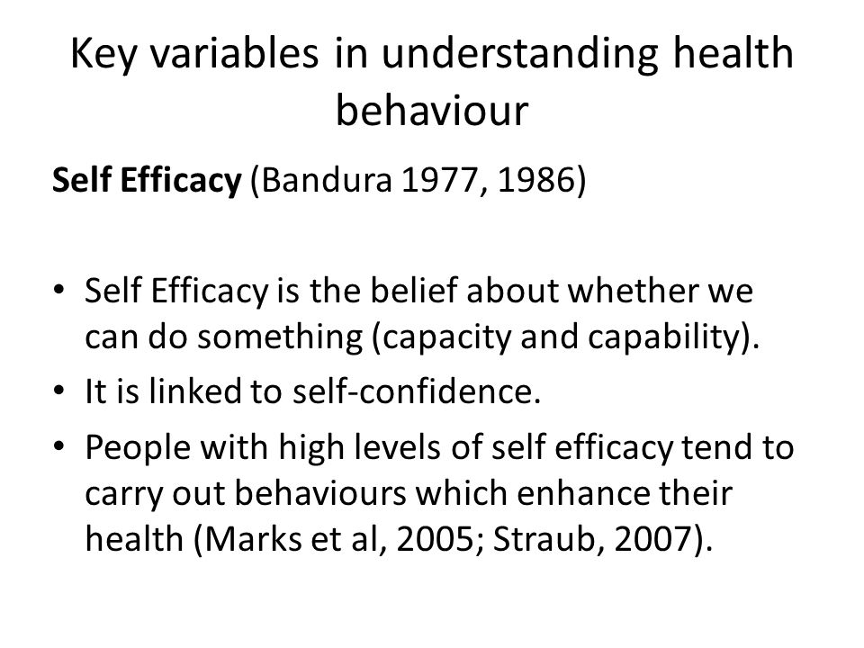Key variables in understanding health behaviour