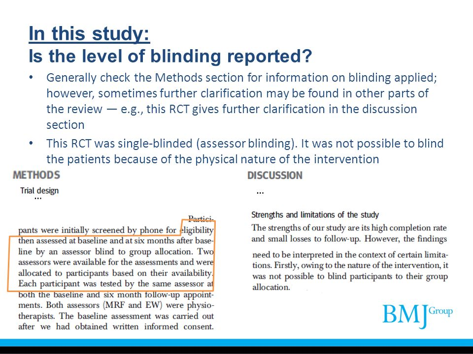 In this study: Is the level of blinding reported