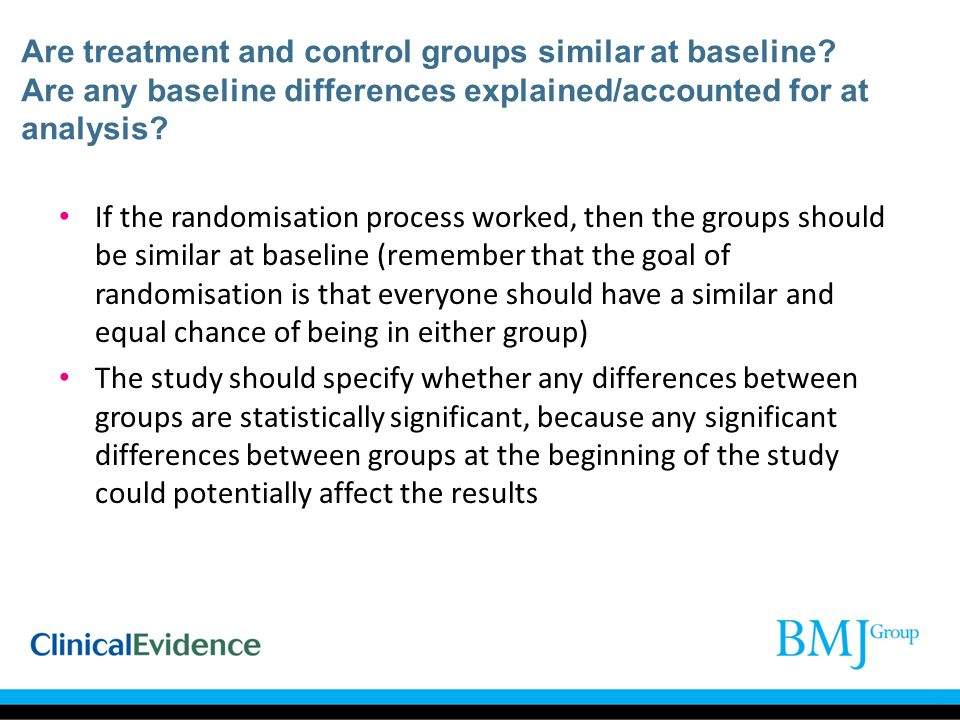 Are treatment and control groups similar at baseline